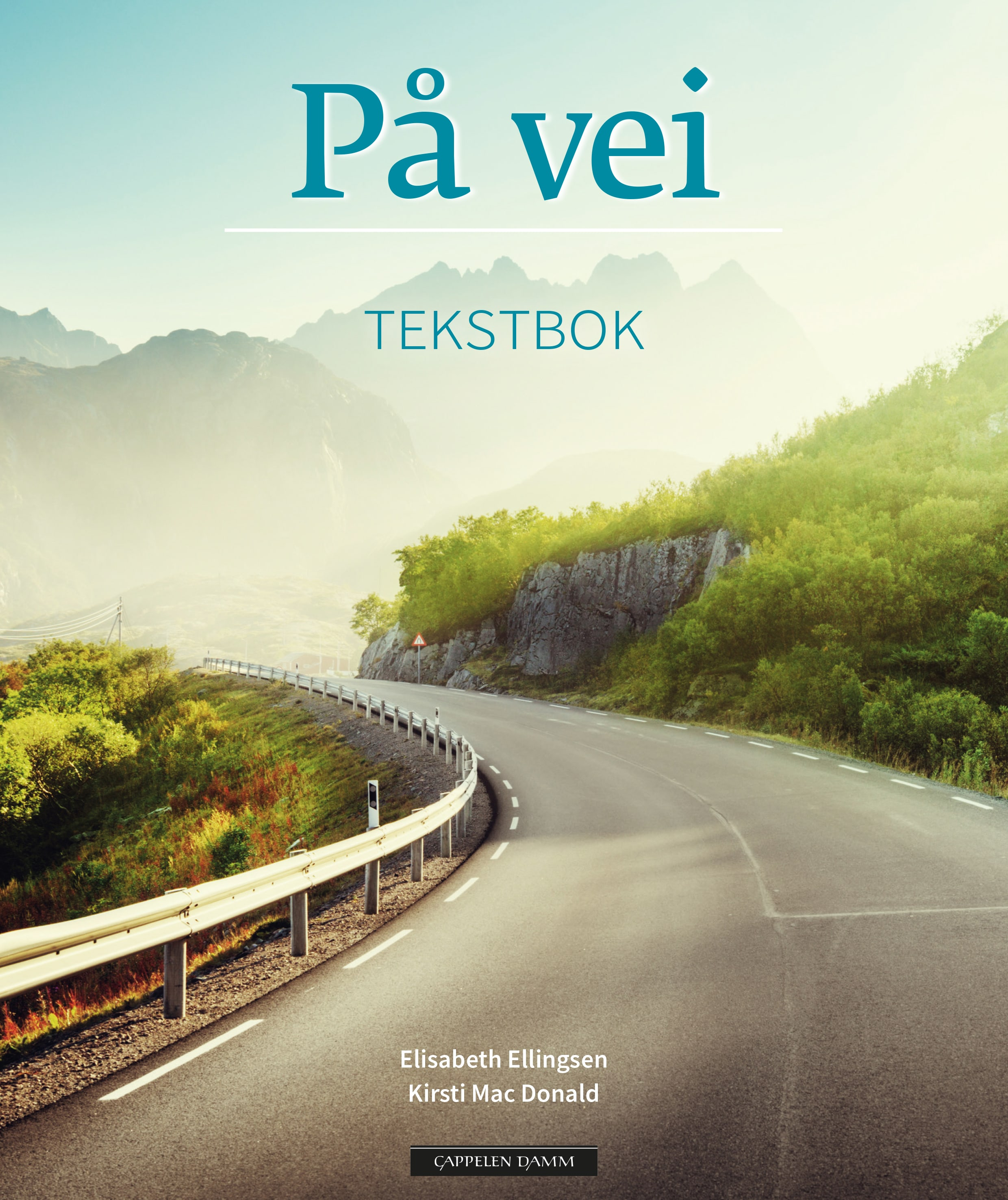 På vei text book and work book on desk, Smartboard with Alfaskolen logo in background