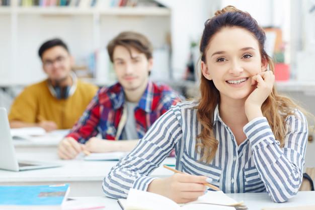 Three happy Norwegian students